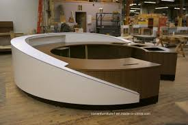 modern wood solid surface corian round office reception desk