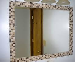Bathroom Three Mirrors Bathroommirror Border Tile Mirror And Mosaic Tiles