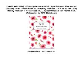 Hourly Planner 2020 Most Wished 2020 Appointment Book Appointment Planner For