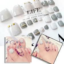 24pcs Fashion Gray Short False Fake Toe Nails Tips Toes Nail