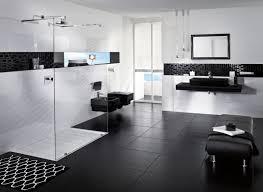 Luxurious Black White Bathroom Installed On Tiled Flooring ...