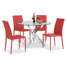 Red Dining Room Chairs Dining Room Furniture Quattro 5 Pc Dinette Red Americana