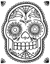 Small Picture Sugar Skull Coloring Pages Pdf