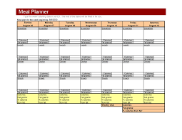 diet excel sheet weekly meal planner template