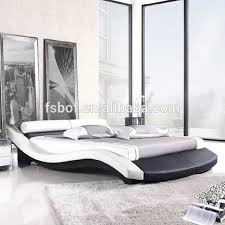 latest italian faux leather sleigh double bed design furniture c026