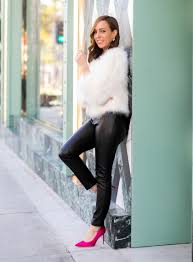 sydne style shows holiday cocktail party outfit ideas in leather leggings