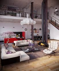 contemporary loft furniture. Contemporary Loft Decor Modern Furniture High Ceiling Wood Floor Hanging Fireplace Red Kitchen Pendant Lamps
