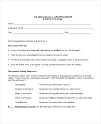 Job Evaluation Template Employee Job Performance Review Form Evaluation Template Meaning In ...
