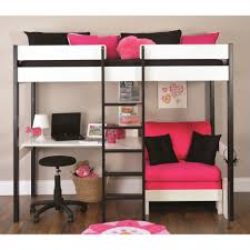 Lovely Pink Sofa Under Alluring Bunk Beds With Desk And Dark Ladder Facing  Ottoman