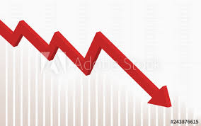 Abstract Financial Chart With Red Color 3d Downtrend Line