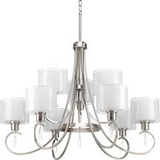 progress lighting invite collection 9 light brushed nickel chandelier