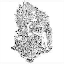 花夢モノクロ線画イラスト花と女性のイラストレーション 武市りえ