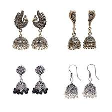 black metal jewellery.  Metal Lucky Jewellery Black Metal Golden U0026 Silver Oxidised Jhumki Earring Combo  Set Pair Of 4 And