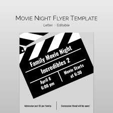 Movie Night Flyer Word Template And Pages Template For Pta Etsy