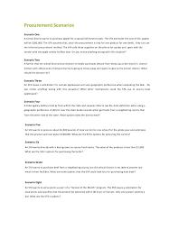 Procurement Procurement Scenarios