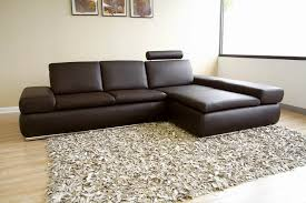 champagne dark brown leather sectional sofa with headrest