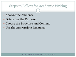 lesson academic writing topics why do we write in college  4 english composition two steps to follow for academic writing analyze the audience determine the purpose choose the structure and content use the