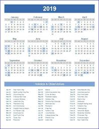 Calendar 2019 Printable With Holidays Calendar 2019 Usa Holidays Printables Calendar 2019 Calendar