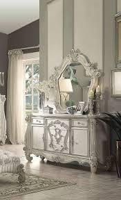 Ivory Velvet/Bone White Queen Bedroom Set 5P Versailles 21130Q Acme ...