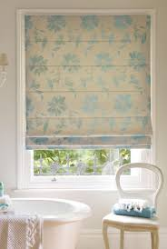 ... Roman Bathroom Blinds Waterproof Roller Blinds Shower Grey And Blue  Floral Patterned Roman Shades ...