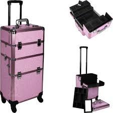 pink crystal rolling makeup case