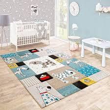 baby nursery rug beige blue kids animal rug carpet soft childrens room play mat