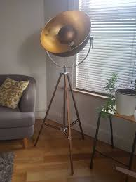 made chicago floor lamp in antique copper and gold