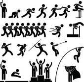 Silhouettes of athletes performing various sports