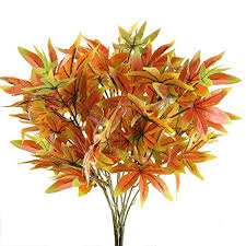 nahuaa 2pcs artificial shrubs fake fall bushes large silk autumn maple leaves bundles indoor outdoor table centerpieces arrangements home kitchen office