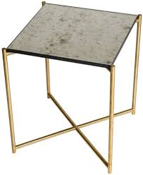 stockwell antiqued glass top with brass frame side table square