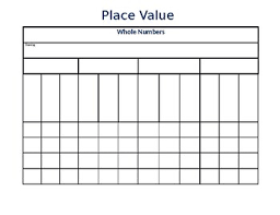 Blank Place Value Chart Blank Place Value Chart Whole Numbers