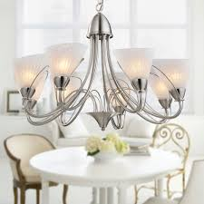 8 light silver iron modern chandelier with glass shades hkp31262 8