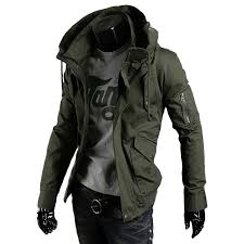 hooded mens jacket military big sizes casual streetwear jackets men militaire zipper coat men punk style