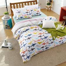pink blue and orange bright colorful sharks print undersea world marine life unique 100 cotton kids twin full size bedding sets