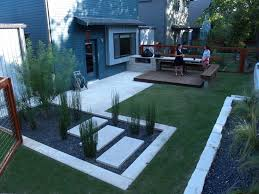 back yard deck with rock garden | modern small backyard design with kitchen  dining and living