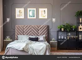 Dunkel Grau Schlafzimmer Innenraum Mit Vertäfelung Der Wand Kingsize