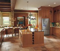 rustic cabinets. Rustic Kitchen With Cherry Wood Cabinets