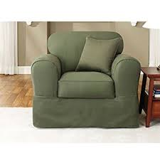 sure fit twill supreme 2 piece chair slipcover loden