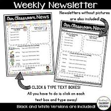 Class Newsletter Editable Classroom Newsletter Templates Color Black And White Freebie