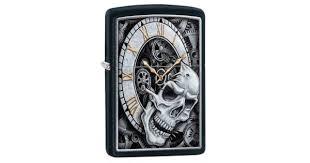 <b>Зажигалка ZIPPO Skull Clock</b> Black Matte | Цена: 2840 руб.