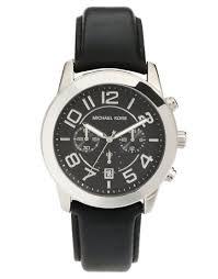 michael kors watch mercer black leather strap in black for men lyst gallery