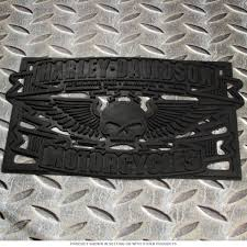 harley davidson winged skull rubber welcome mat close