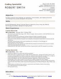 Coding Specialist Resume Samples Qwikresume