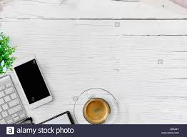 office table top view. Delighful View Flat Lay Top View Office Table Desk Frame Home Business Workspace  With Desktop Computer Coffee Flower On White Wood Background On Office Table Top View R
