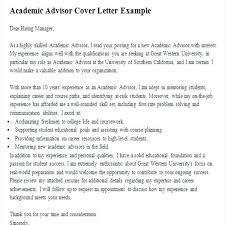 Academic Advising Cover Letter Academic Advising Cover Letter