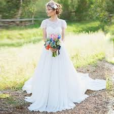 discount bohemian wedding dresses short cap sleeve lace chiffon a