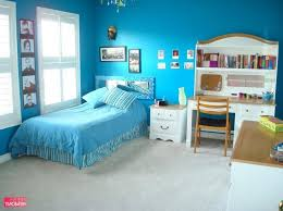 Gorgeous Blue Teenage Girl Room Design With Blue Bedding Set And Frame On Blue  Wall As