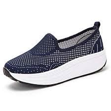 Hishoes Women's Mesh Slip-On Platform Trainers Casual <b>Toning</b> ...