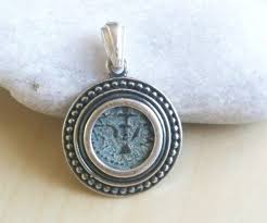 antique genuine widow mite coin set in silver pendant with certificate necklace coin jewelry ancient coin necklace