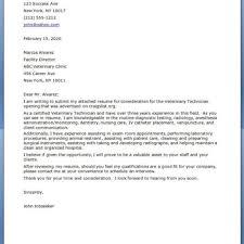 Resume Cover Letter Examples For Veterinary Technician Oneswordnet
